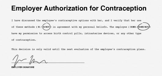Obama Employer Authorization for Contraception